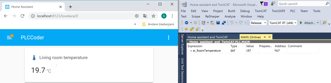 Home Assistant and TwinCAT showing temperature